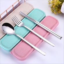304Stainless Steel Chopsticks Spoon Fork Tableware <strong>Set</strong> with Portable Gift Box and Bag For Adult School Travel Picnic <strong>Cutlery</strong> <strong>Set</strong>