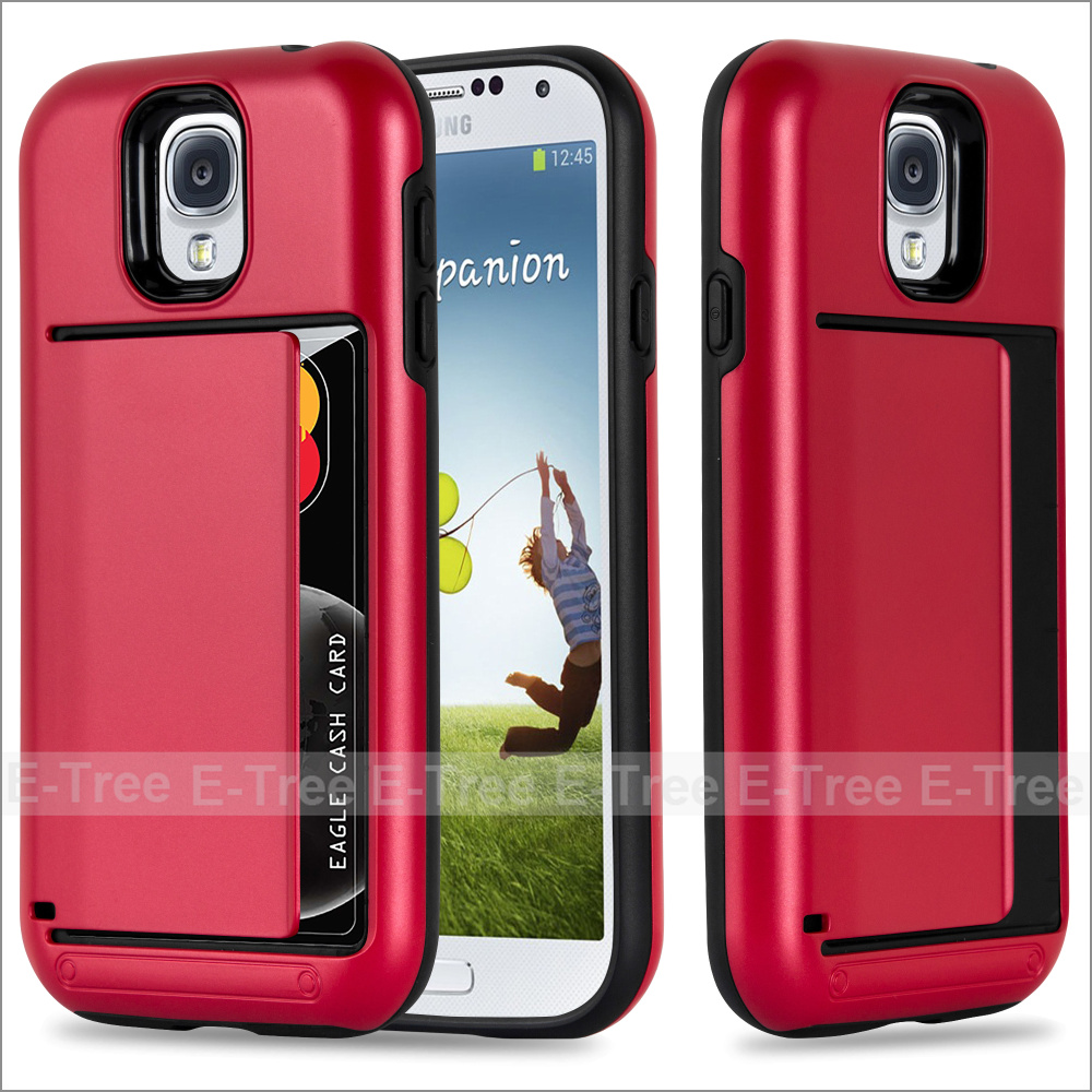 Wallet Credit Card Holder PC Back TPU Bumper Case Cover for Samsung Galaxy S4, Dual Layer Protective Case for S4