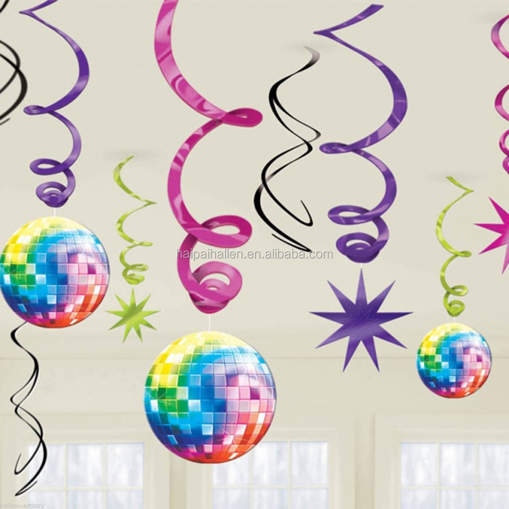 Colorful Laser Paper Cutout PVC Swirl Hanging Party Decoration