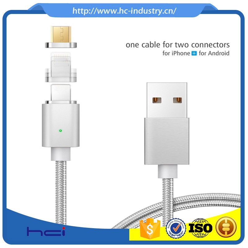 New arrival factory price 2 in 1 two side metal usb cable for iphone 6 7 7plus data cable