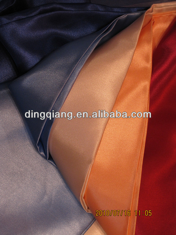 Polyester satin fabric for chair cover/table cloth in wedding/banquet at hotel,church or beach