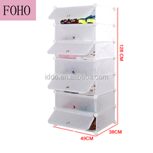 Living room Environment friendly 7 cubes white tall plastic shoe cabinet (FH-AW1478-7)