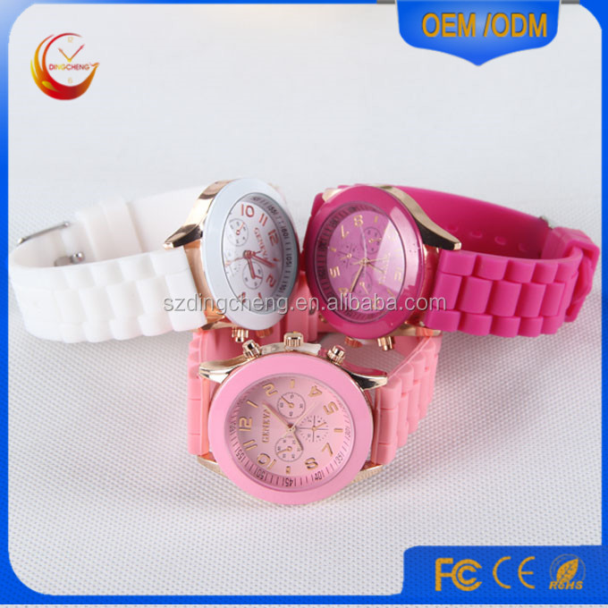 Fashion Lady Watch Women Girl Geneva Silicone Quartz Wrist Watch Golden Crystal Stone China Imitation Cheap Watch