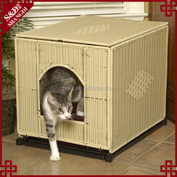 Cat pet product factory latest supply resin wicker & metal craft luxury cat cage