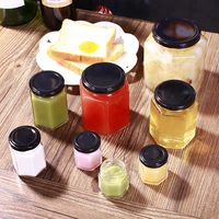 Hot selling wholesale different sizes hexagon shape honey glass jar