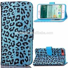 Hot selling PU leather with fashionable leopard print wallet flip phone case for iphone 7