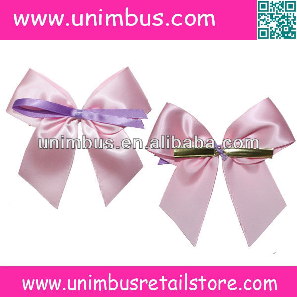 double sided polyester satin twist tie ribbon bow with gold clip two wires clip