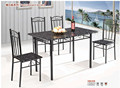 1202-61B KD packed rectangle metal dinning 4 seats table and chair set