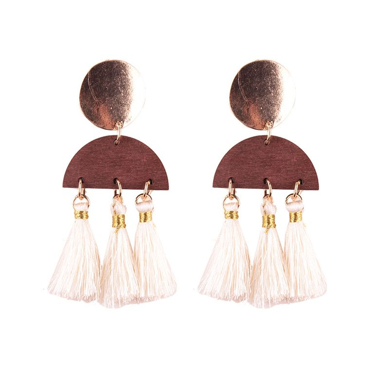 Fashion Boho Flat Alloy Charm Colorful Pink Girl's Tassel Silk Thread Tassel Drop Earrings
