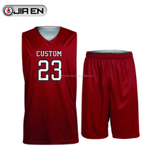 Wholesale Basketball T-Shorts With Free Design Custom Sublimation Basketball Jersey Maroon Color