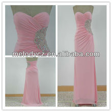 2015 Elegance charming pink side waist beaded sexy night dress for women