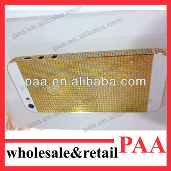 For iPhone 5 gold diamond grid bezel housing, the best quality, 24ct gold plated