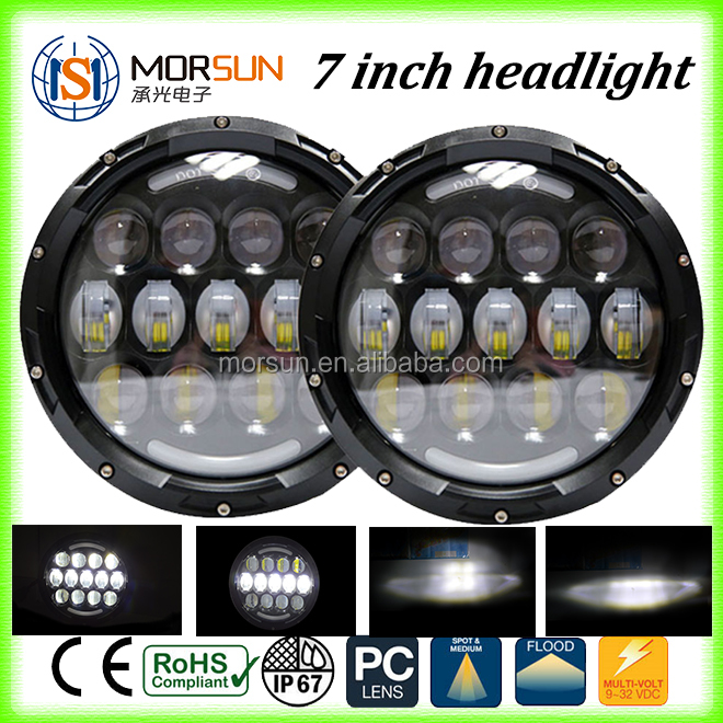 "high power 7"" moto led round car headlight 7"" led headlight for jeeps wrangler faro motorcycle led"