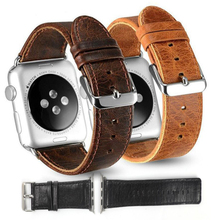 Italy wax oil top layer Genuine leather fitness smart watch band for apple iwatch