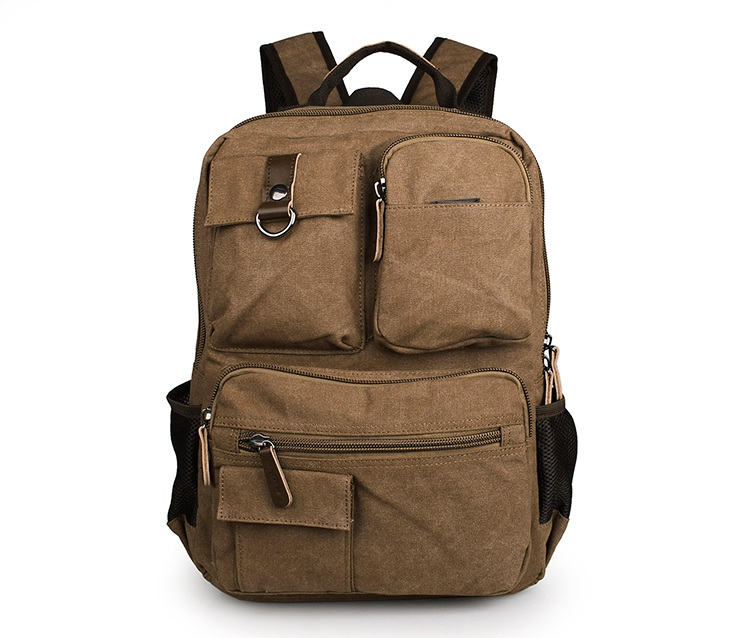 9021B Fashion Design Brown Laptop Bag Fancy Canvas Backpack For Teens