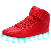 Big Size 35-46 USB LED Light Shoes Men Women 7 Colors LED Fashion Shoes Flats High-top Adults Lumineuse Shoes from China
