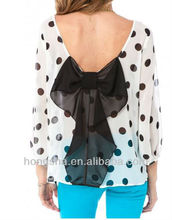 sheer chiffon bow blouse in navy and white polka dot HSM4024