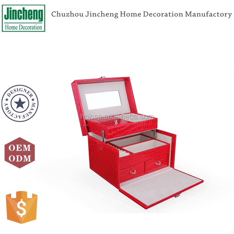 Red croco faux leather muti-functional custom big lots jewelry box