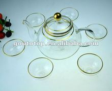Heat resistant 100%purity gold the glass tea pot service tasting set