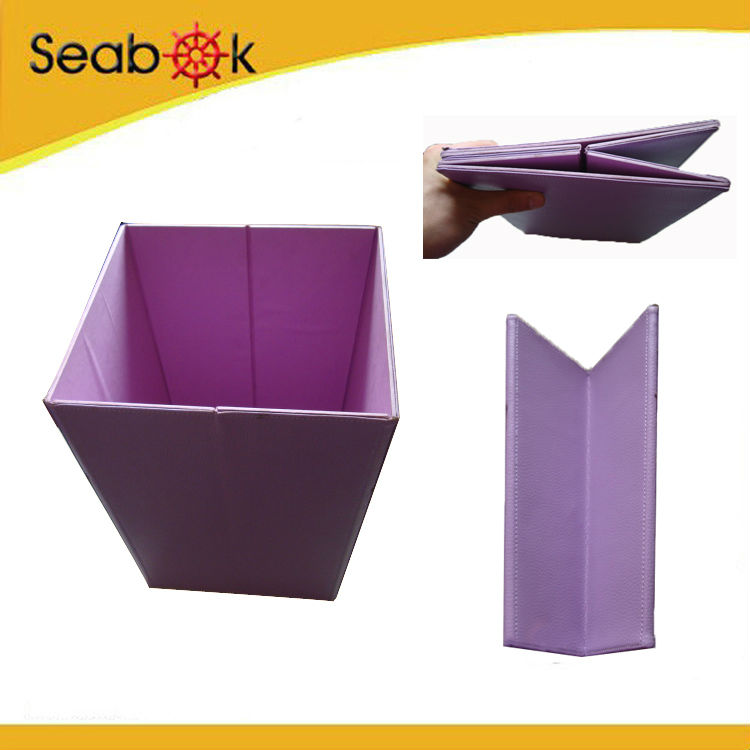 Leather folding trash can for car foldable basket