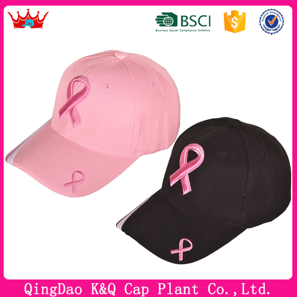 Hot Pink Ribbon Caps Fashionable Baseball Caps For Girl