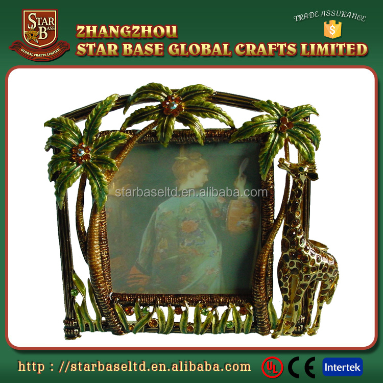 Decorative giraffe metal coconut tree 5x5 photo frame with