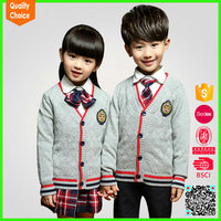 Knitted 100%Cotton primary school uniform cardigan sweaters