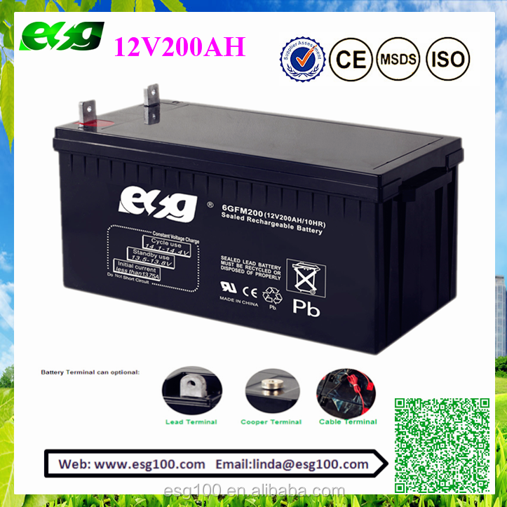 wholesale 12V 200ah solar battery/AGM lead acid battery/deep cycle battery for ups