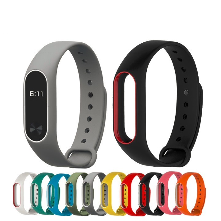 Colorful Silicone Wrist Strap Bracelet Double Color Replacement watchband for Xiaomi Mi band 2 Miband