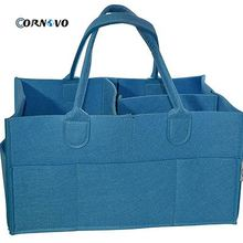 Portable Changeable Insert Multi Pockets Polyester Tote <strong>Bag</strong> Felt Diaper Storage Caddy