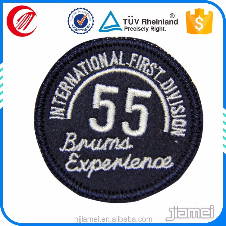 customized logos white letters black fabric 3d embroidery label in low price
