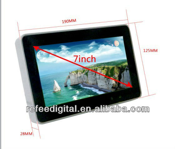 7 inch full HD LCD ad player,media player with USB port,auto play videos/photos