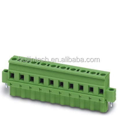 Female plug terminal block with screw flange wiring opening wave pattern side