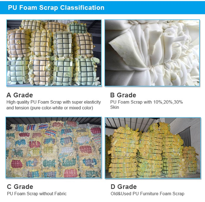 shenzhen factory 100% clean and dry mixed color polyurethane foam scrap in bales