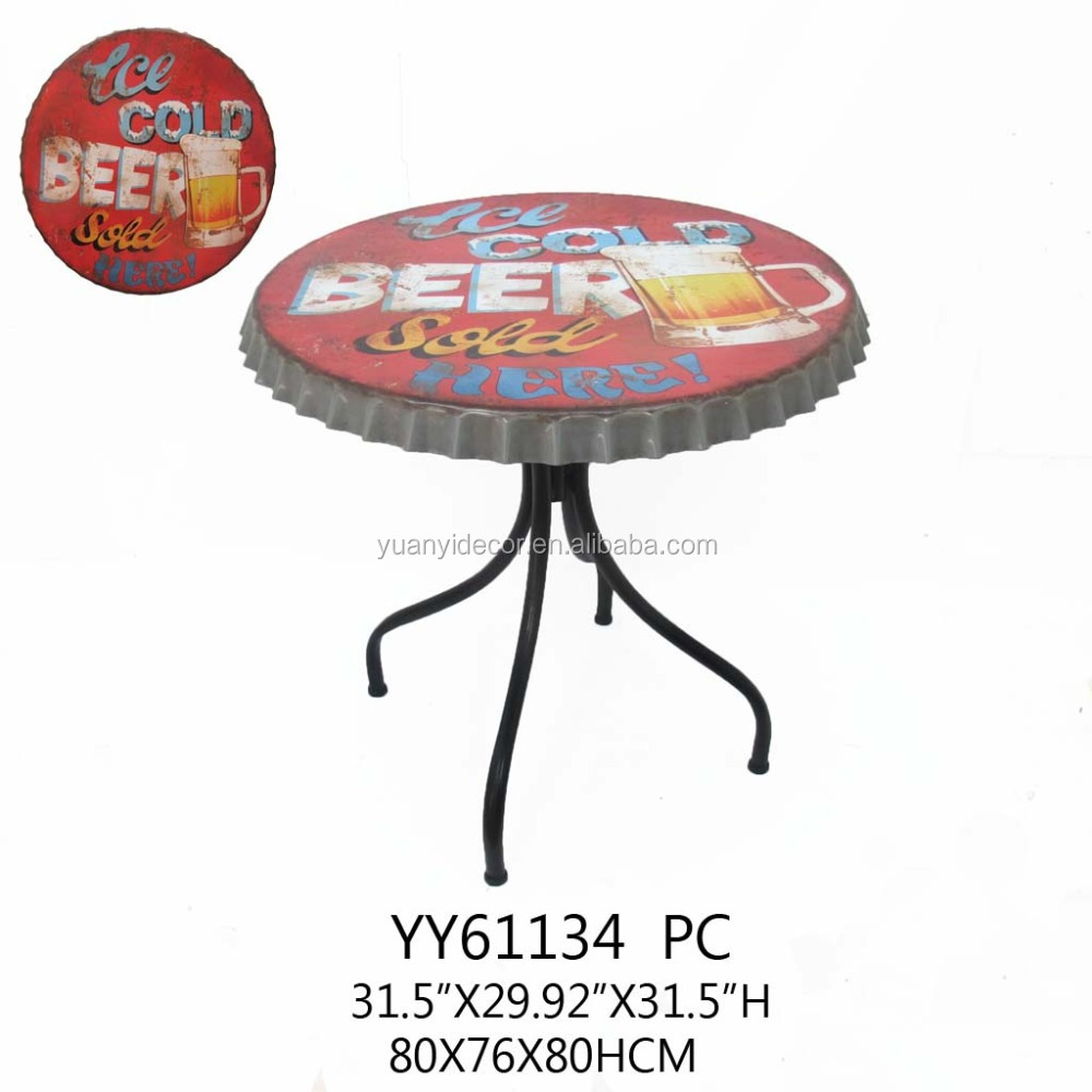 antique big metal beer cap tap round table for bar, coffee shop, garden