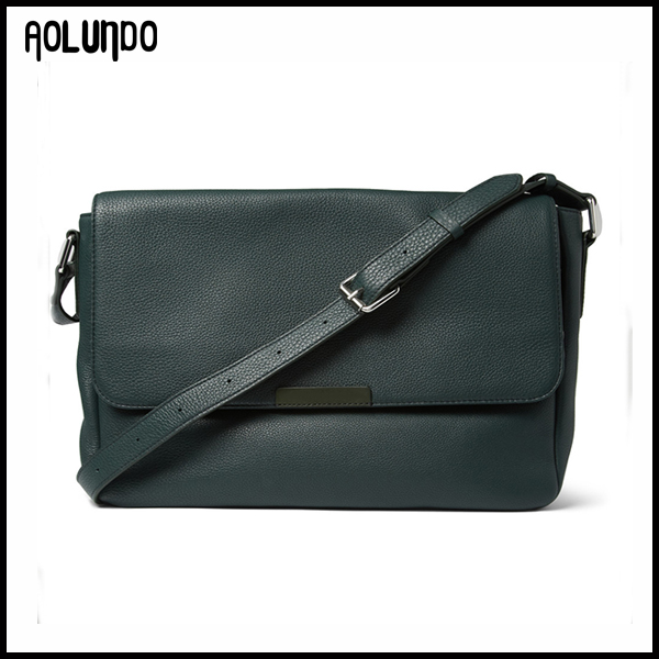 Forest-green Full-grain Leather Messenger Bag
