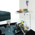 Frosted Perspex/Acrylic Side Table With Magazine Rack