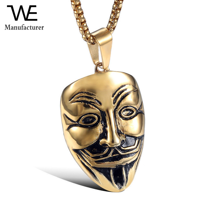 Men V Net Vendetta Mask Exaggerated Hacker Mask Pendant Necklaces Jewelry