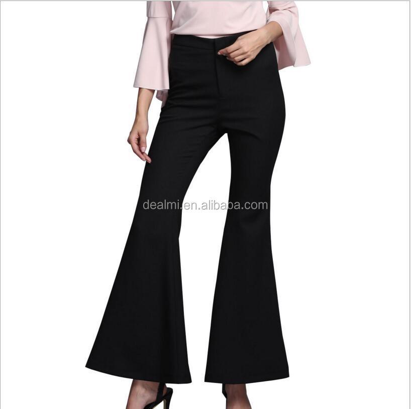 DEMIZXX318 Wholesale Custom Fashion Summer Top Quality New Western Women Pants Popular Style 100% Polyester Black Bell Bottoms