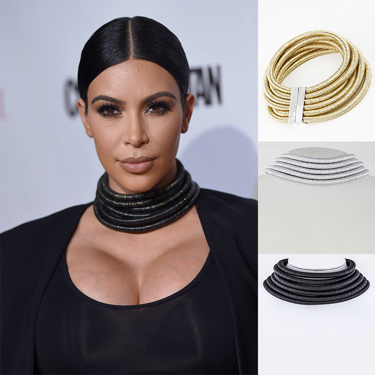 2016 Sexy Multi Layered Coil Magnetic Closure Choker Collar Necklace