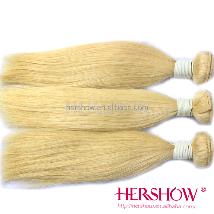 Silk straight blonde color 613 human virgin remy hair weft ,high quality cheap price brazilian hair weaving