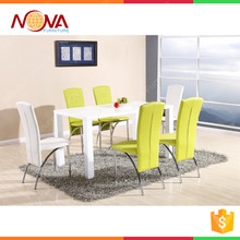High quality Modern latest designs of modern MDF high gloss white dubai dining tables and chairs for sale