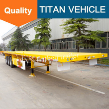 steel platform flat deck trailer tri-axle used container flatbed trailers for sale FOB 8500