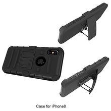 OEM support Military 3 in 1 Belt clip Stand PC Silicone Mobile phone cover for Iphone 8