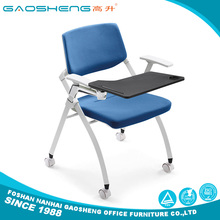 Folding stackable school and office training chairs with writing pad