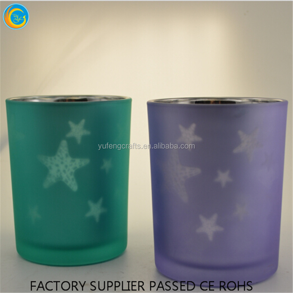 star logo engraving glass jar candle holder