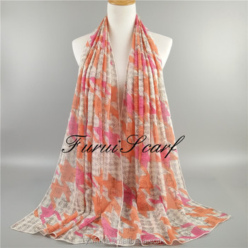 New Design Prints Chiffon Flower Printed Chiffon Hijab Scarf Muslim Head Wraps Headband Solid Plain Color Scarves