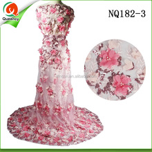 fushia 3d floral lace embroidery fabric bead sequined embroidery nigeria laces NQ182-3