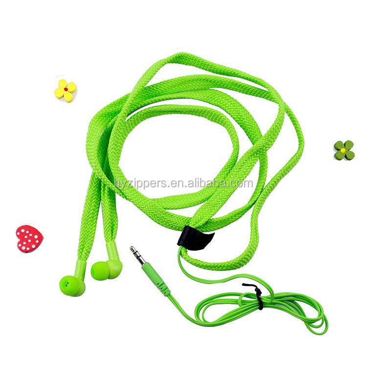colorful shoelace in-ear earphones for mp3 player
