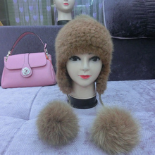 Women real mink fur Knitted mink hat with earmuffs and fox fur pompom